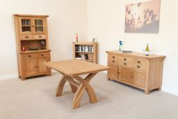 Country Oak 1.4m Cross Leg Dining Table (Square End)
