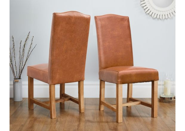 Ascot Tan Brown Premium Leather Dining Chair - WINTER SALE