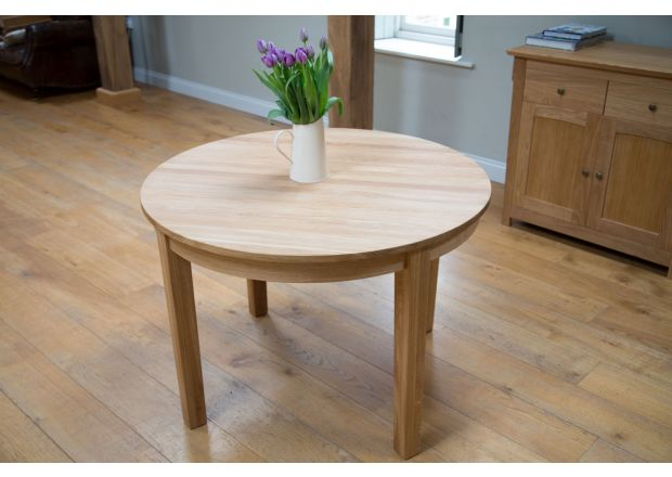Round Solid EU Made Oak Dining Table 90cm Baltic Premium