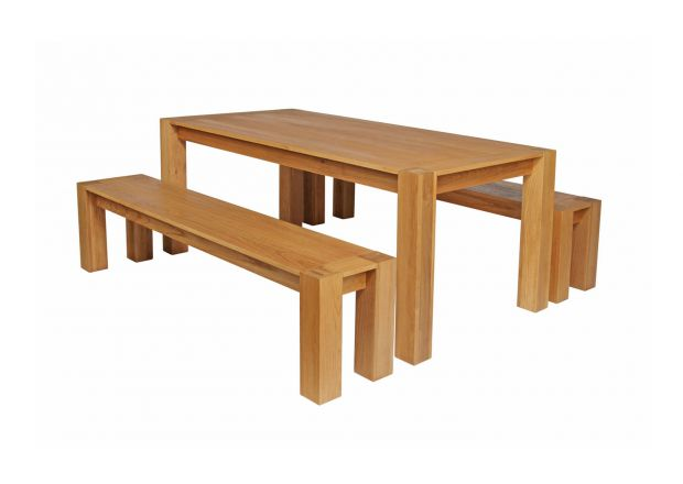 Cambridge 180cm Oak Table & 2 x 180cm Cambridge Benches