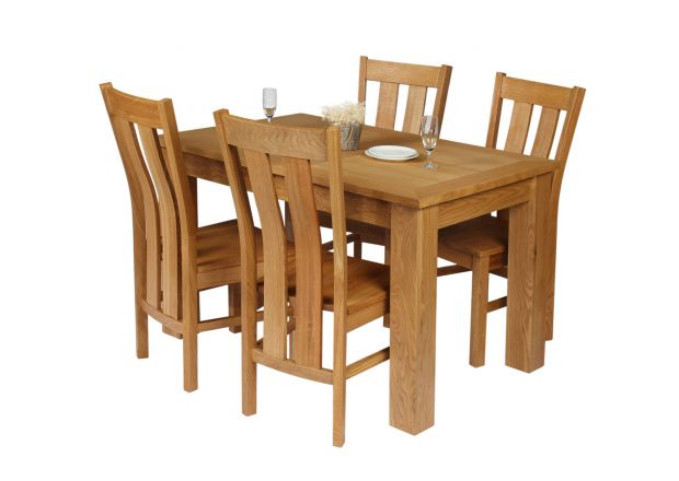 Caravella 170cm Extending Oak Table 4 Churchill Timber Seat Oak Chair Set