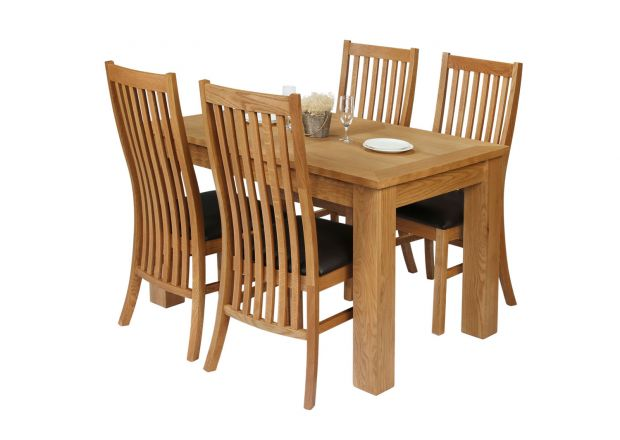 Caravella 170cm Extending Oak Table 4 Lichfield Brown Leather Oak Chair Set