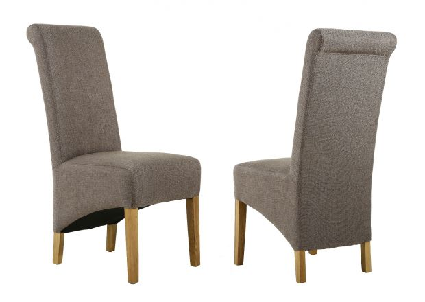 Chesterfield Brown Herringbone Fabric Dining Chair Oak Legs - WINTER SALE