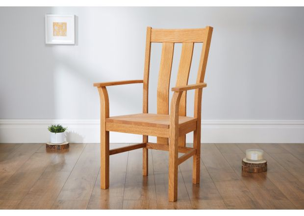 Churchill Solid Oak Carver Dining Chair