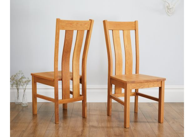 Churchill Solid Oak Dining Chair Timber Seat - WINTER SALE