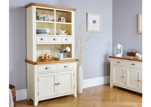 Country Cottage Cream Painted 100cm Buffet and Hutch Dresser