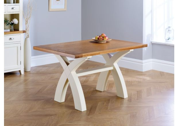 Country Oak 140cm Cream Painted Cross Leg Dining Table - PRICE CRUNCHED