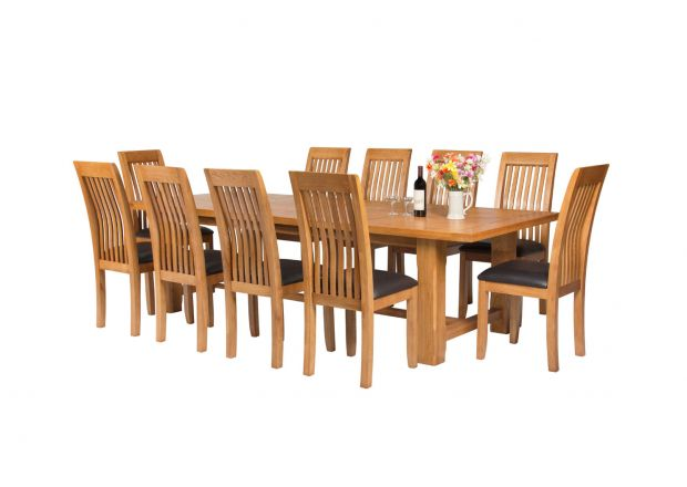 Large 280cm Solid Oak Refectory Table 10 Westfield Brown Leather Chair Set