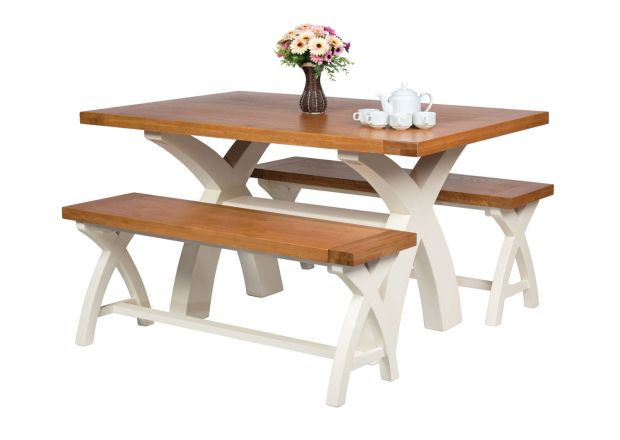 Country Oak 140cm Cream Painted Cross Leg Square Table 2 120cm Cross Leg Cream Bench Set
