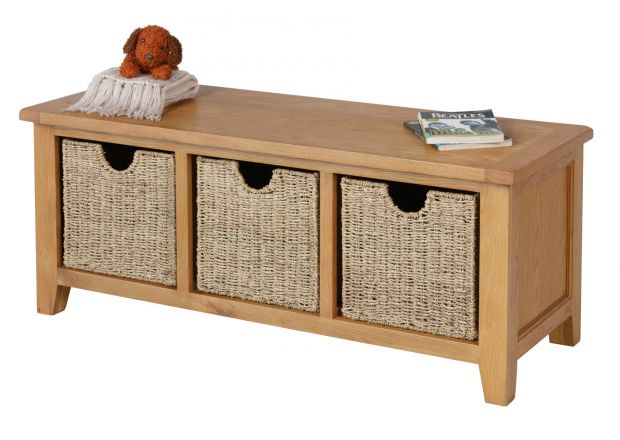 Country Oak Hallway Shoe Storage Bench with 3 Wicker Baskets