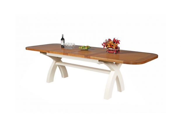 Country Oak 2.8m X Leg Double Extending Large Cream Painted Table Oval End - PRICE CRUNCHED