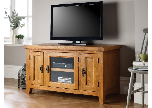 Country Oak TV unit with Glass Front - WINTER SALE