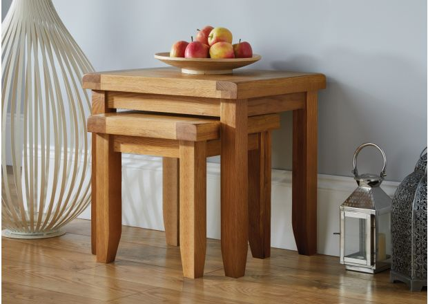 Country Oak Nest of Two Tables - BLACK TAG DEAL