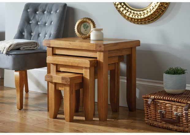 Country Oak Nest of Three Tables