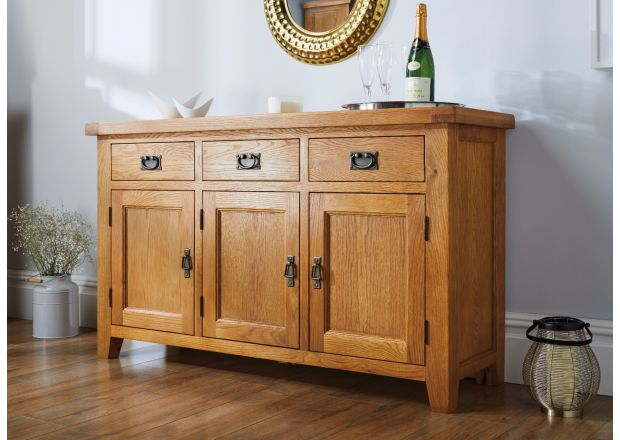 Country Oak 3 Door Medium Oak Sideboard - JANUARY SALE