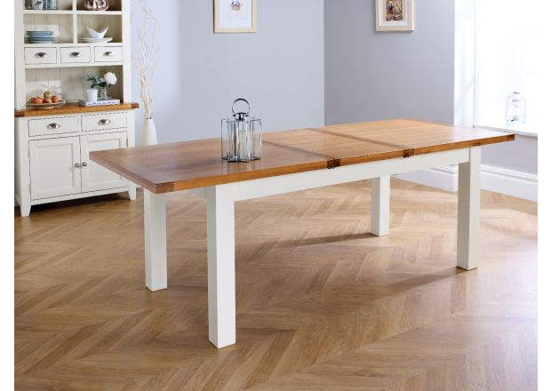 Country Oak 230cm Grey Painted Extending Dining Room Table - SPRING SALE