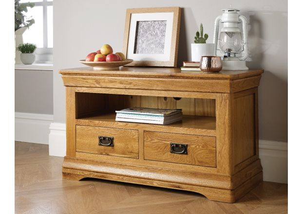 Farmhouse Oak TV Unit with 2 Drawers