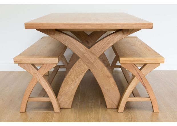 Country Oak 140cm X Leg Square Table and 2 120cm X Leg Country Oak Benches