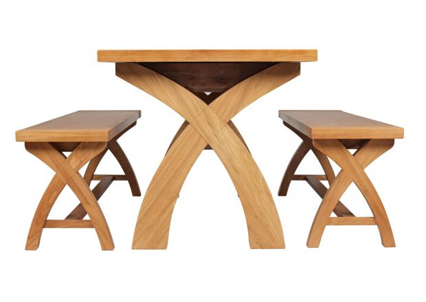Country Oak 140cm X Leg Table and 2 120cm X Leg Country Oak Benches