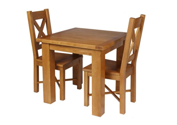 Country Oak 80cm Oak Table and 2 Grasmere Oak Seat Chair Set