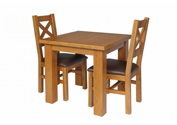Country Oak 80cm Oak Table and 2 Windermere Brown Leather Chair Set - WINTER SALE