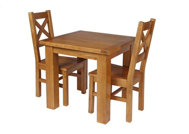 Country Oak 80cm Oak Table and 2 Windermere Oak Seat Chair Set