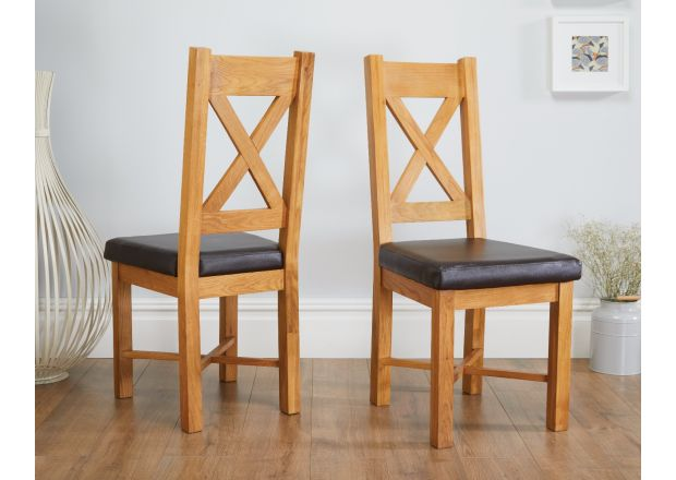 Grasmere Oak Dining Chair with Brown Leather Seat - WINTER SALE