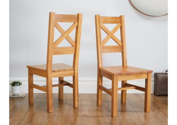 Windermere Cross Back Oak Chair With Timber Seat - WINTER SALE