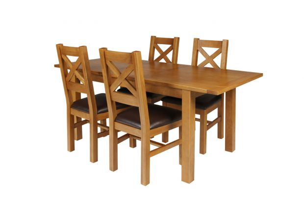Country Oak 180cm Extending Oak Table and 4 Windermere Brown Leather Seat Chair Set