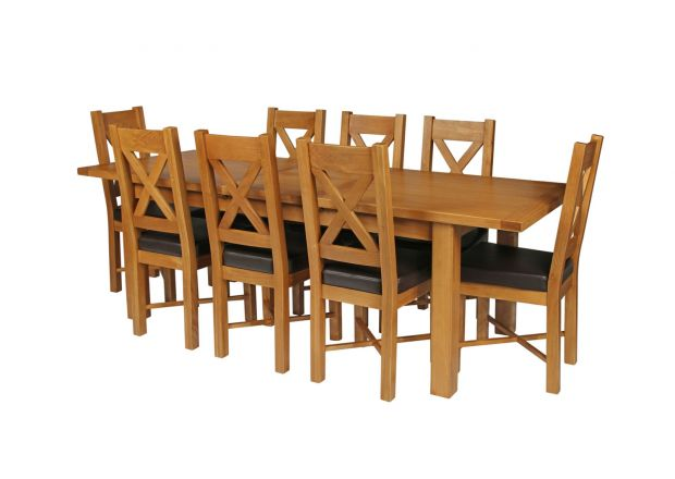 Country Oak 230cm Extending Oak Table and 8 Grasmere Brown Leather Seat Chair Set