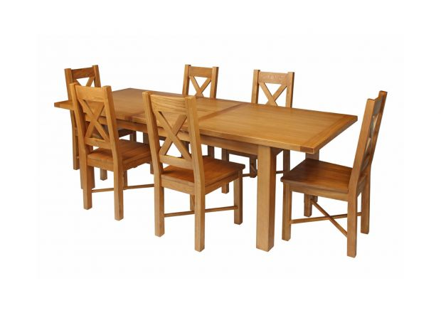 Country Oak 230cm Extending Oak Table and 6 Grasmere Timber Seat Chair Set
