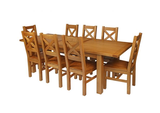 Country Oak 230cm Extending Oak Table and 8 Windermere Timber Seat Chair Set