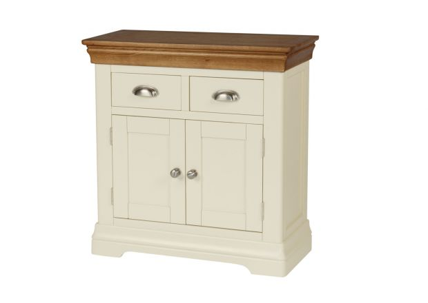 Farmhouse 80cm Cream Painted Small Oak Sideboard