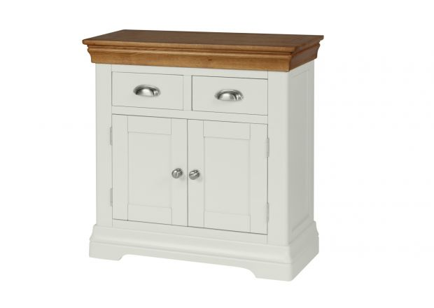 80cm Farmhouse Putty Grey Painted Small Oak Sideboard - JANUARY SALE