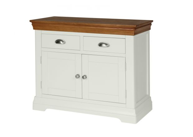 100cm Farmhouse Putty Grey Painted Small Oak Sideboard - JANUARY SALE
