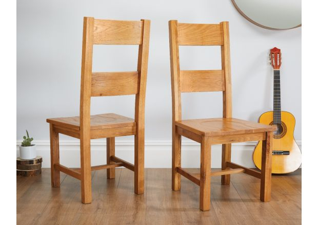 Chester Country Oak Ladder Back Timber Seat Oak Dining Chairs