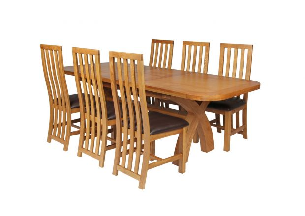 Country Oak 230cm Cross Leg Oval Table and 6 Dorchester Brown Leather Chairs