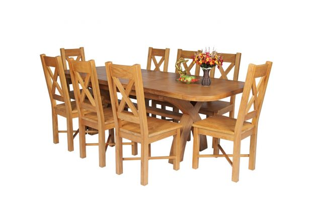 Country Oak 230cm Cross Leg Oval Table and 8 Grasmere Timber Seat Chairs