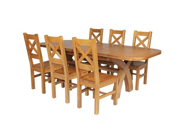Country Oak 230cm Cross Leg Oval Table and 6 Windermere Timber Seat Chairs