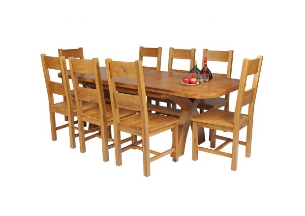 Country Oak 230cm Cross Leg Oval Table and 8 Chester Timber Seat Chairs