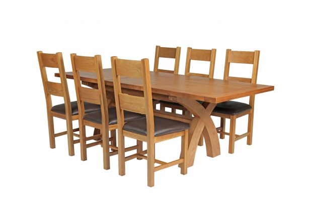 Country Oak 230cm Cross Leg Square Table and 6 Chester Brown Leather Chairs