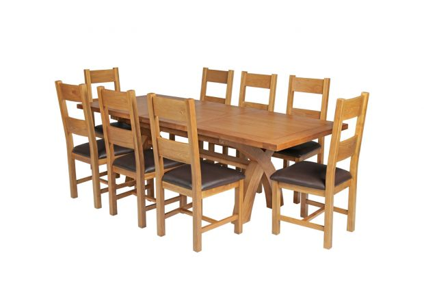 Country Oak 230cm Cross Leg Square Table and 8 Chester Brown Leather Chairs