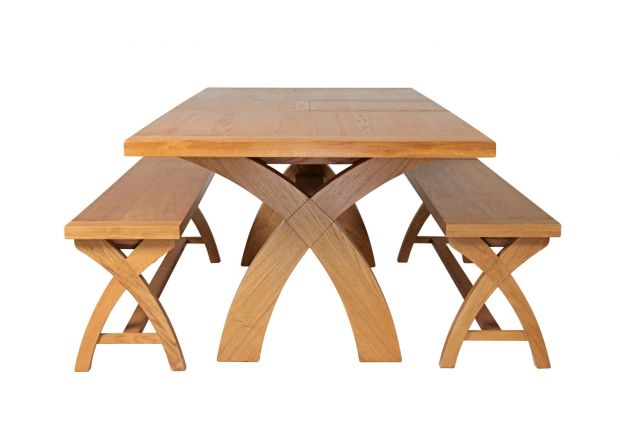 Country Oak 230cm Cross Leg Square Table and 2 160cm Cross Leg Bench Set