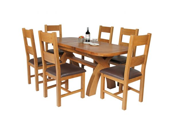 Country Oak 180cm Extending Cross Leg Oval Table and 6 Chester Brown Leather Chairs