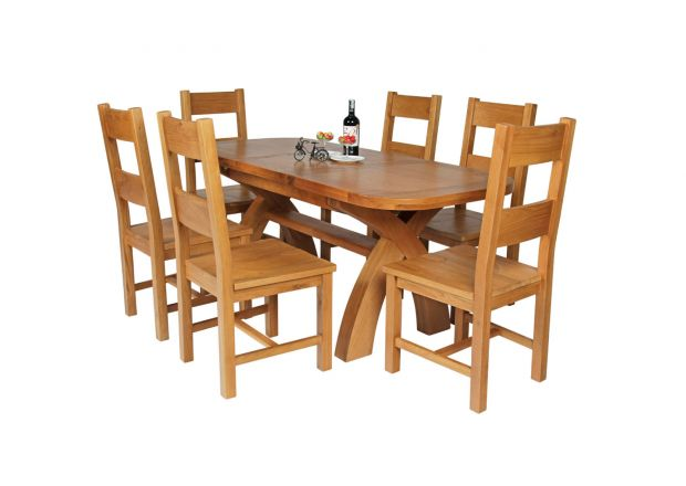 Country Oak 180cm Extending Cross Leg Oval Table and 6 Chester Timber Seat Chairs