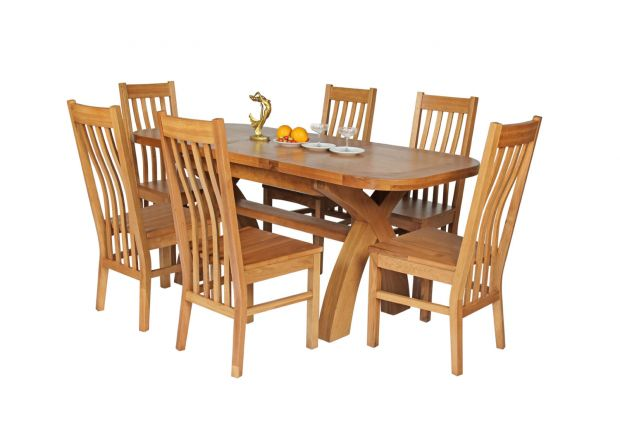 Country Oak 180cm Extending Cross Leg Oval Table and 6 Chelsea Timber Seat Chairs