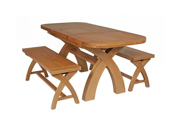 Country Oak 180cm Extending Cross Leg Oval Table and 2 x 120cm Cross Leg Bench Set