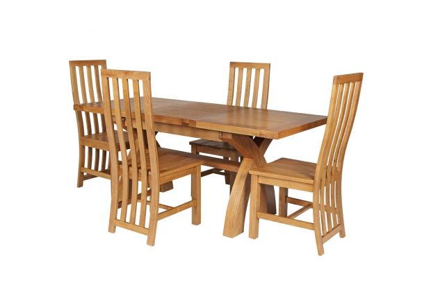 Country Oak 180cm Extending Cross Leg Square Table and 4 Dorchester Timber Seat Chairs