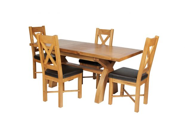 Country Oak 180cm Extending Cross Leg Square Table and 4 Grasmere Brown Leather Chairs