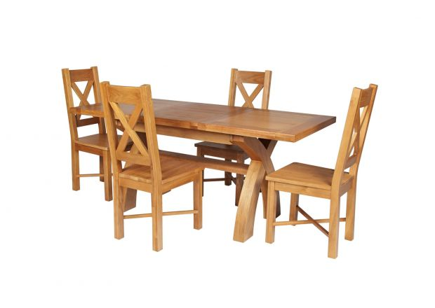 Country Oak 180cm Extending Cross Leg Square Table and 4 Grasmere Timber Seat Chairs